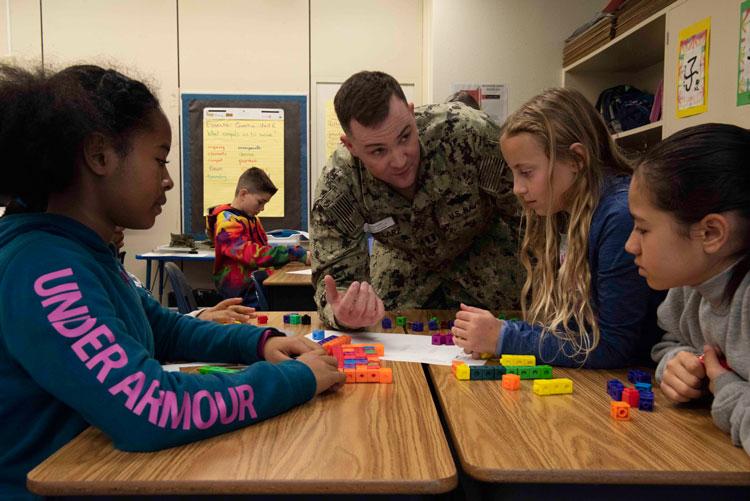Sailors support STEM at Amelia Earhart Intermediate School during Engineers Week
