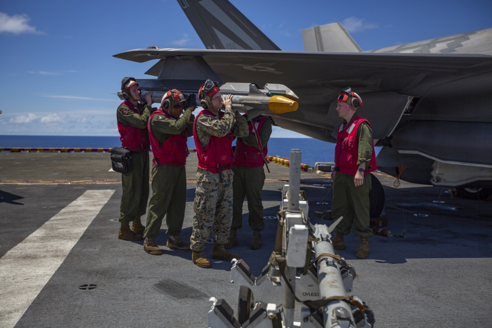 Marine Corps F-35B Lightning II completes simulated defensive combat air patrol with live AIM-9X missile