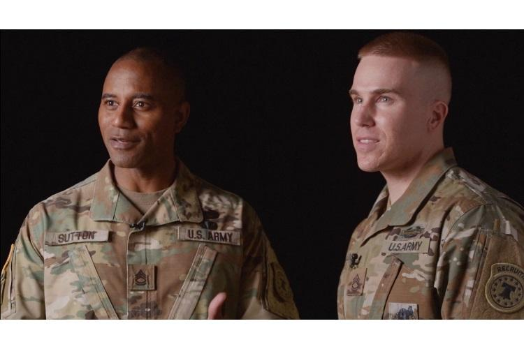 "U.S. Army Recruiting Command dropped its newest music video ""Giving All I Got,"" beckoning all potential recruits to step up and help strengthen the Army team. Sgts. 1st Class Arlondo Sutton and Jason Brenner Locke, who are assigned to the Atlanta and Houston recruiting battalions, respectively, wrote and produced the new single. (Photo Credit: Elliot Valdez)"