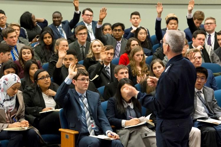 Air Force Gen. Paul Selva, vice chairman of the Joint Chiefs of Staff, speaks to students with the U.S. Senate Youth Program at the Pentagon, March 8, 2019. (Photo by EJ Hersom)