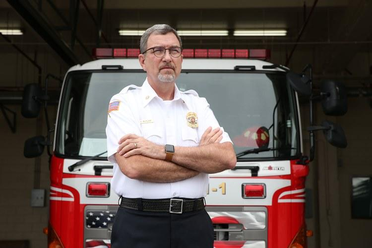 Fire Chief Charlie Butler of U.S. Army Garrison Okinawa, Torii Station, is the recipient of the 2018 Army Fire and Emergency Services Lifetime Achievement Award, and the Military Firefighter Heritage Foundation, a private organization based in San Angelo, Texas, will induct him into their hall of fame next month. (Photo Credit: Photo by Jim McGee, U.S. Army Garrison Okinawa)