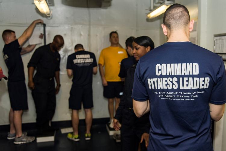 ATLANTIC OCEAN (April 5, 2016) Sailors aboard the aircraft carrier USS Dwight D. Eisenhower (CVN 69), the flagship of the Eisenhower Carrier Strike Group, complete their body composition assessment (BCA) on the ship's forecastle in preparation for the upcoming spring cycle physical readiness test (PRT). (U.S. Navy photo by Mass Communication Specialist Seaman Casey J. Hopkins)