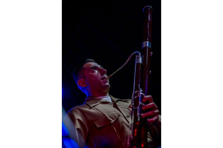 U.S. Marine Corps Sgt. Steven Salazar, a bassoon player with the III Marine Expeditionary Force Band, plays the bassoon during a combined performance with the Japan Ground Self-Defense Force 15th Brigade Band on June 18, 2020, on Camp Foster, Okinawa, Japan. Salazar is a native of Los Angeles, California. (U.S. Marine Corps photo by Lance Cpl. Brennan J. Beauton)
