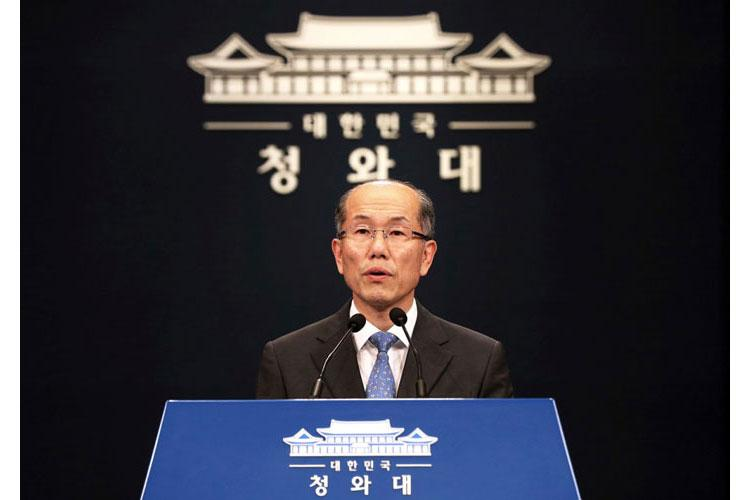 Kim You-geun speaks during a press conference at the presidential Blue House in Seoul, South Korea, Friday, July 12, 2019. (LEE YUN-CHUNG/NEWSIS/AP)
