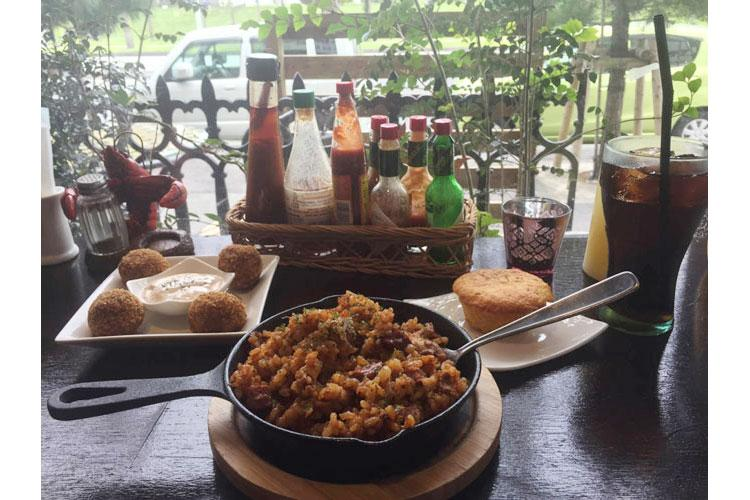 Boudin balls, jambalaya and cornbread at Cafe Orleans near Camp Foster, Okinawa. (JESSICA BIDWELL/STARS AND STRIPES)
