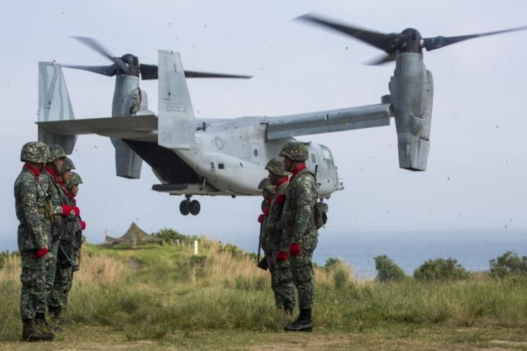 A U.S. Marine Corps MV-22 Osprey assigned to Marine Medium Tiltrotor Squadron 262 attached to the 31st Marine Expeditionary Unit, III Marine Expeditionary Force, takes off from Marine Barracks Gregorio Lim during exercise KAMANDAG 2 at Ternate, Philippines on Oct. 7, 2018. KAMANDAG 2 is an exercise that helps maintain a high level of readiness and enhances combined military-to-military relations and capabilities. (Marine Corps Photo by Cpl. Christian J. Lopez)