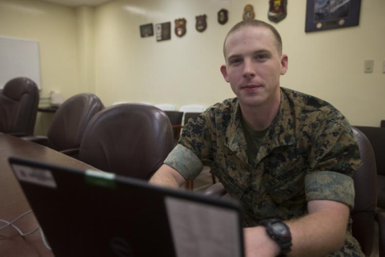 Cpl. John Stone, a meteorology and oceanography analyst forecaster with the 31st Marine Expeditionary Unit, uses a computer at Camp Hansen, Okinawa, Japan, April 16, 2019. The 31st MEU, the Marine Corps' only continuously forward-deployed MEU, provides a flexible force ready to perform a wide range of military operations as the premier crisis response force in the Indo-Pacific region. (U.S. Marine Corps photo by Lance Cpl. Kyle P. Bunyi/Released)