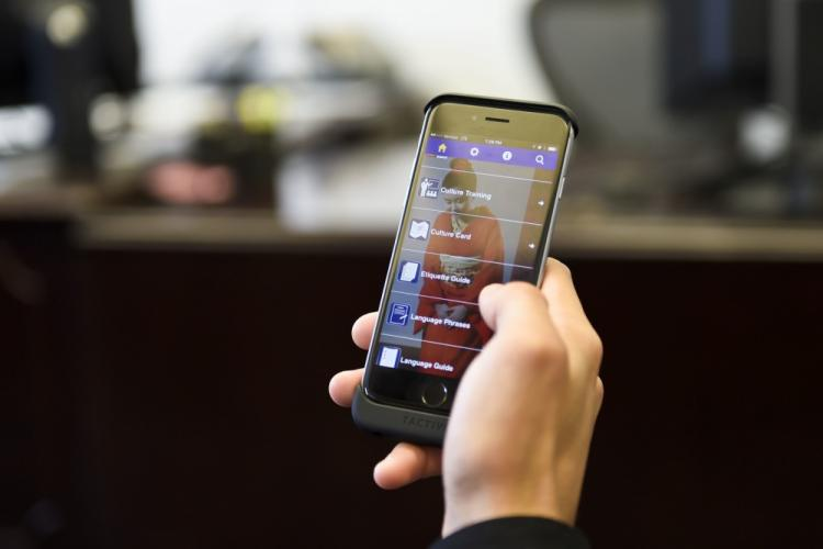 PENSACOLA, Fla. (Feb. 3, 2017) A Sailor examines the features available on the Center for Language, Regional Expertise and Culture (CLREC) mobile application. The CLREC Navy Global Deployer app is available for download from the iTunes and Google Play online stores. (U.S. Navy photo by Mass Communication Specialist 2nd Class Taylor L. Jackson/Released)