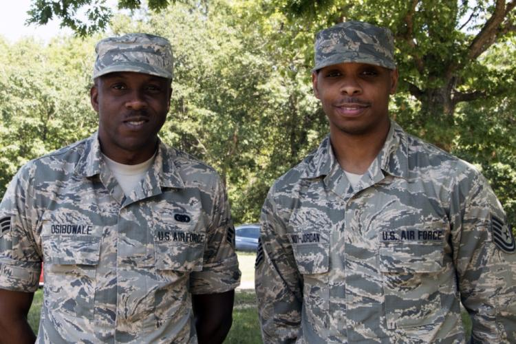 Senior Airman Adetokunbo Osibowale (left) and Tech Sgt. Kyle Waddy-Jordan, 459th Logistics Readiness Squadron, pose for a photo Sept 3, 2019 at Joint Base Andrews, Md. Waddy-Jordan recently saved Osibowale's life during training at Kadena Air Base, Japan. (U.S. Air Force photo/Staff Sgt. Cierra Presentado)