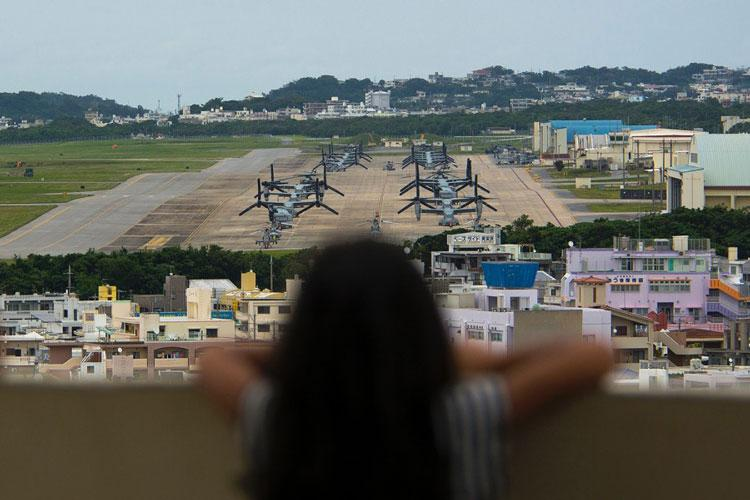 Marine Corps Air Station Futenma is seen from a park in Ginowan, Okinawa, April 19, 2019. (CARLOS VAZQUEZ/STARS AND STRIPES)