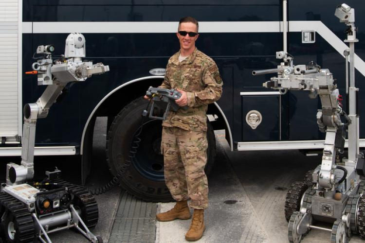 U.S. Air Force Tech. Sgt. Bryan Woiewucki, Explosive Ordnance Disposal flight NCO in-charge of training form the 18th Civil Engineer Squadron, poses for a photo on Kadena Air Base, Japan, April 11, 2019. Woiewucki was selected as Pacific Air Force's NCO of the year and will compete at the Air FOrce level. Winners are expected to be announced later this summer. (U.S. Air Force photo by Airman 1st Class Mandy Foster)