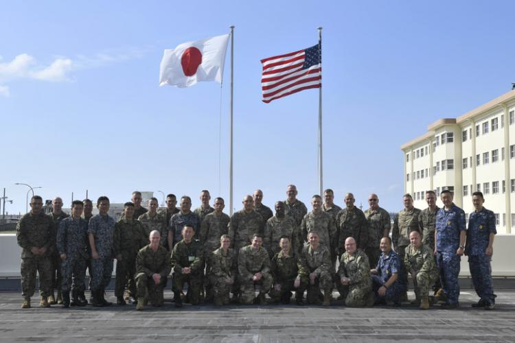 U.S. military and Japan Self-Defense Forces leaders conduct an annual Joint Bilateral Senior Enlisted Symposium at Kadena Air Base, Japan, Nov. 5, 2019. More than 50 members came together to discuss challenges and improvements to military interoperability between the two nations. With growing adversarial competition throughout the Pacific Theater, U.S. and Japanese military leaders increase efforts to unify strategic thinking across the alliance. (U.S. Air Force photo by Staff Sgt. Peter Reft)