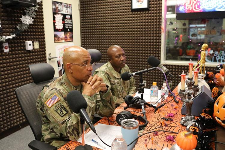 AFN , OKINAWA, JAPAN – 10th Support Group Commander Col. Theodore White and Command Sgt. Maj. Kenneth Law slip into their roles as senior U.S. Army representatives on Okinawa and take to the Armed Forces Network - Okinawa airwaves as they keep the community informed.