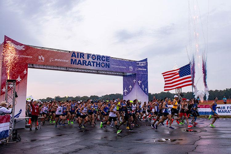 The Air Force Marathon, presented by Northrop Grumman, USAA and Boeing, is scheduled for Saturday, Sept. 19, 2020 at Wright-Patterson Air Force Base, Ohio. The Health & Fitness Expo, held at Wright State University's Nutter Center is scheduled for Thursday, Sept. 7 and Friday, Sept.18. (U.S. Air Force photo by Wesley Farnsworth)