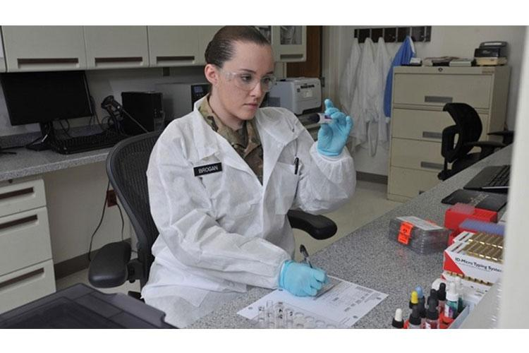 Army Spc. Breanna Brogan is a medical laboratory specialist at Blanchfield Army Community Hospital who performs elementary blood banking and clinical laboratory procedures in hematology, immunohematology, clinical chemistry, serology, and parasitology. Medical laboratory specialist is one of many Army Medicine career options available to qualified candidates. (US Army photo).