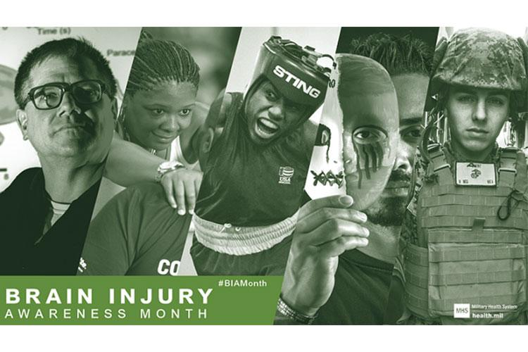 The Department of Defense and the Military Health System recognizes March each year as Brain Injury Awareness Month to increase awareness of traumatic brain injuries, and the Department's efforts to improve its ability to identify, care for, and treat service members and veterans who are affected by TBI. (MHS graphic)