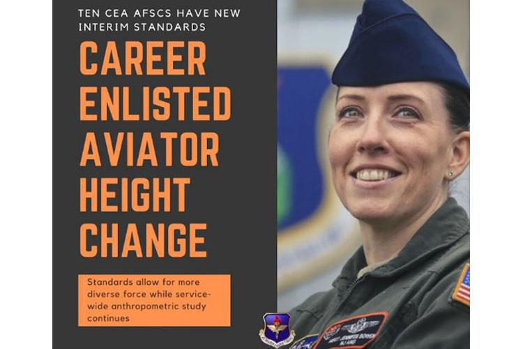 To accelerate Air Force aircrew diversity efforts and safely meet accession demands during the ongoing study, critical flying Career Enlisted Aviator carrier fields and applicable aircraft were surveyed at the request of Air Education and Training Command leadership. Based on preliminary data, interim height standards have been established for specific CEA Air Force Specialty Codes and are effective immediately. (U.S. Air Force graphic by Master Sgt. Caitlin Jones Martin)