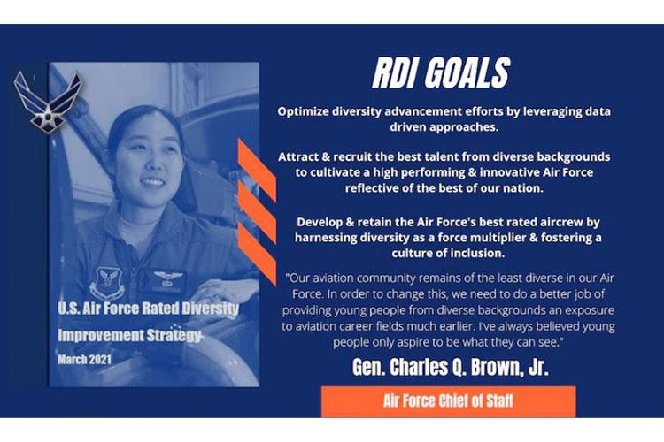 Air Force leaders officially released the service's Rated Diversity Improvement Strategy March 17, 2021, marking the force's ongoing commitment to attract, recruit, develop and retain a diverse rated corps. (U.S. Air Force graphic)