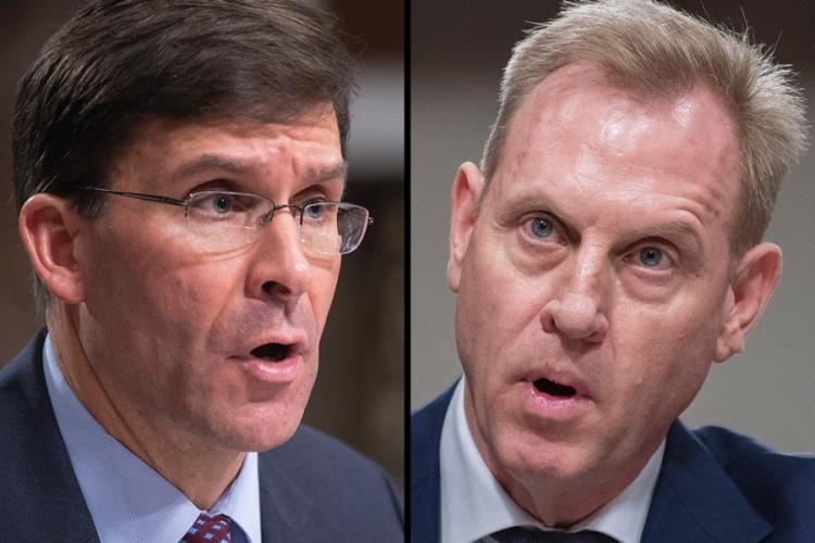 Army Secretary Mark Esper, left, and acting Defense Secretary Patrick Shanahan. President Donald Trump on Tuesday, June 18, 2019, tweeted that he will name Esper to serve as the acting Defense chief, after Shanahan told the president he was withdrawing his name from the confirmation process. STARS AND STRIPES