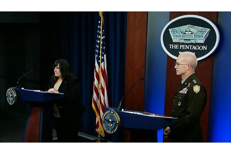 Acting Assistant Secretary of Defense for Health Affairs Dr. Terry Adirim (left) and Defense Health Agency Director Army Lt. Gen. (Dr.) Ronald Place provide a COVID-19 update to members of the press at the Pentagon, March 26. (Screenshot of press conference taken by MHS Communications)