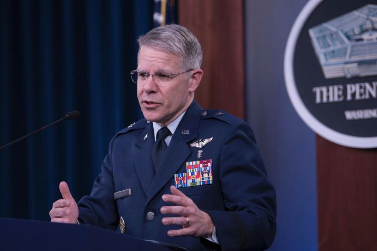 """""""Our curve is not flattening,"""" Air Force Brig. Gen. Paul Friedrichs, the Joint Staff surgeon, said Wednesday, March 25, 2020, during a Pentagon news briefing. LISA FERDINANDO, DEPARTMENT OF DEFENSE"""