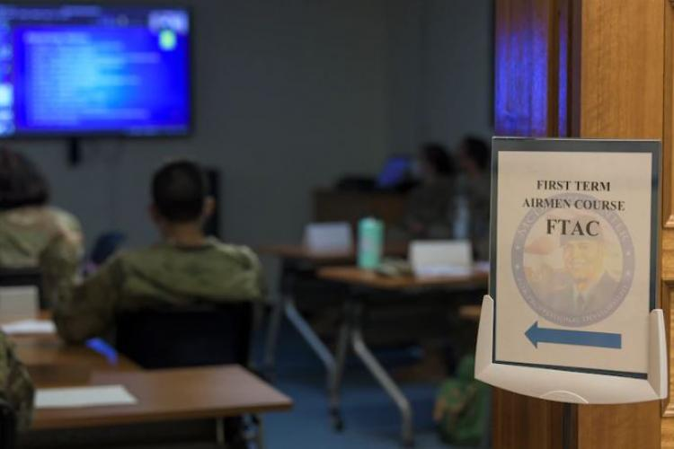 Mr. William McEvoy, 18th Wing base historian, teaches Okinawan and base history during a virtual lesson in the First Term Airmen Course, Aug. 5, 2020, at Kadena Air Base, Japan. Incoming Airmen are required to attend the First Term Airmen Course at their first assignment location. (U.S. Air Force photo by Airman 1st Class Rebeckah Medeiros)