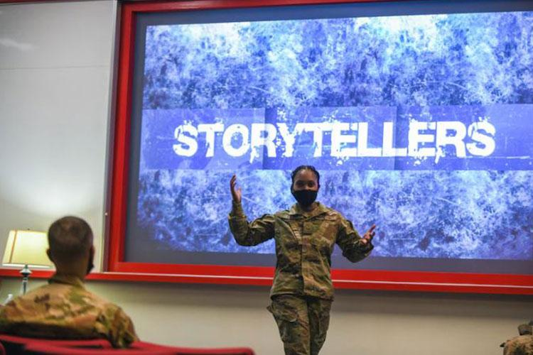 Photo from Storytellers event held on Kadena Air Base, Japan, May 6, 2021. PHOTO DETAILS  /   DOWNLOAD HI-RES 2 of 5 U.S. Air Force Tech.Sgt. Mica Fuller, 82nd Reconnaissance Squadron NCO in charge of Command Support Staff, shares her story of overcoming a divorce during a Storytellers event at Kadena Air Base, Japan, May 6, 2021. Fuller turned to fitness as a way to get through the difficult time in her life. (U.S. Air Force photo by Airman 1st Class Yosselin Perla)