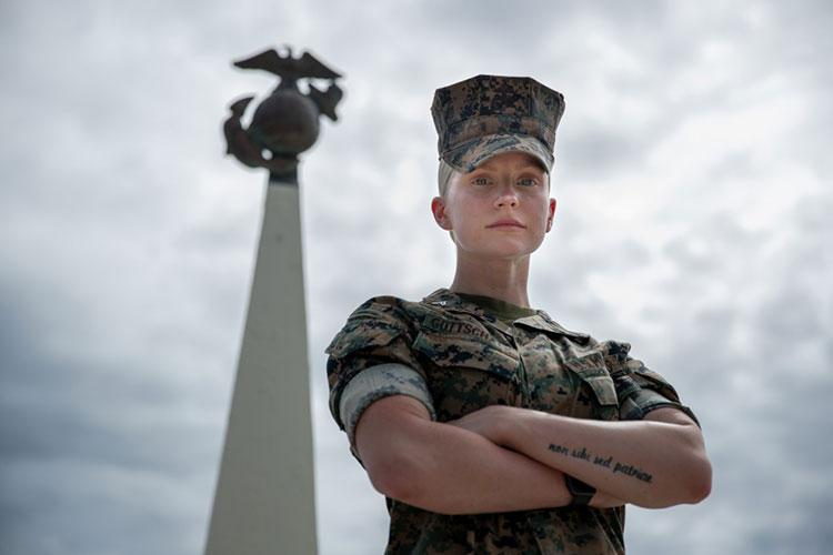 U.S. Marine Cpl. Veronika R. Gottschalk, an intelligence specialist with 3rd Marine Division poses for a photo at Camp Courtney, Okinawa, Japan, June 3, 2020. Gottschalk shared her story of becoming a Marine after being adopted from Russia at the age of 6. (U.S. Marine Corps photo by Lance Cpl. Hannah Hall)