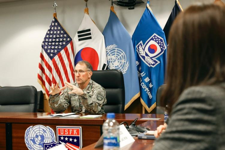 Gen. Robert Abrams, commander of U.S. Forces Korea, United Nations Command and Combined Forces Command, meets with media at Camp Humphreys, South Korea, Tuesday, Nov. 12, 2019. MARCUS BUTLER/U.S. ARMY