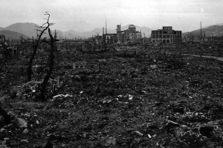 A photograph taken several months after the atomic bomb was dropped on Hiroshima, Japan, Aug. 6, 1945, shows the utter decimation of the city. U.S. NATIONAL ARCHIVES