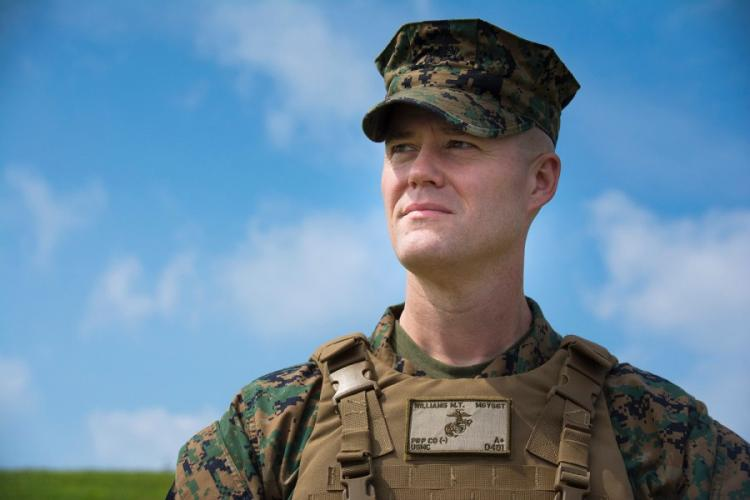 Master Gunnery Sgt. Michael Williams, the senior enlisted Marine in mortuary affairs, poses at Camp Foster, Okinawa, Japan, May 8, 2019. CARLOS M. VAZQUEZ II/STARS AND STRIPES