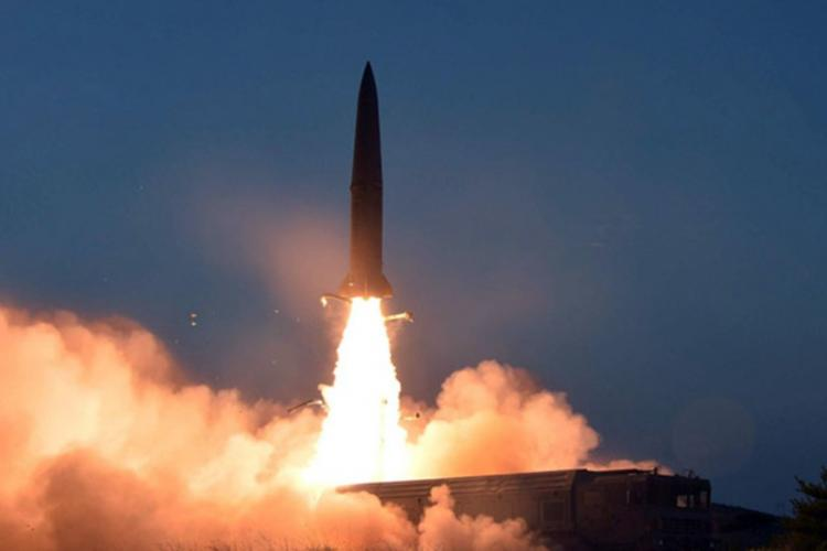 A short-range missile is launched in this undated photo released by the Korean Central News Agency, Friday, July 26, 2019. KCNA