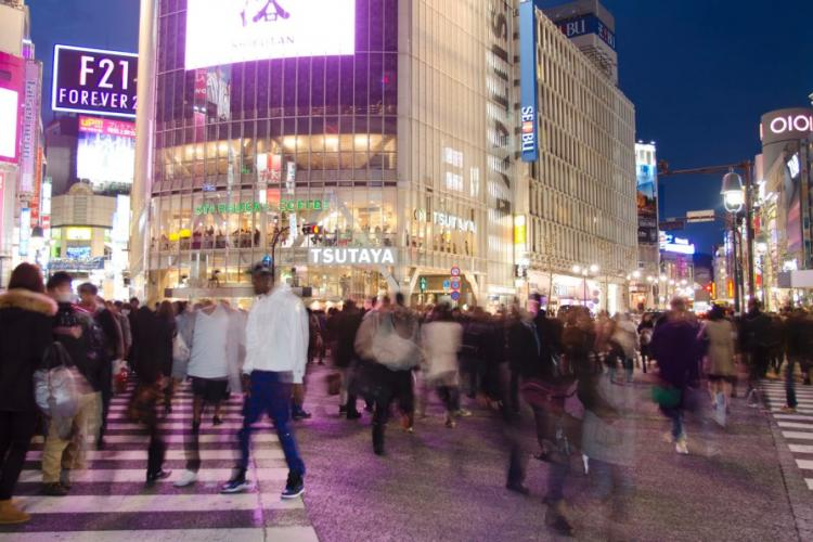 Pedestrians cross the crowded streets in Tokyo's Shibuya area in March 2014. A sailor was found not guilty Wednesday, Aug. 14, 2019, of sexually assaulting a fellow sailor after a night of drinking in the popular nightlife district. STARS AND STRIPES