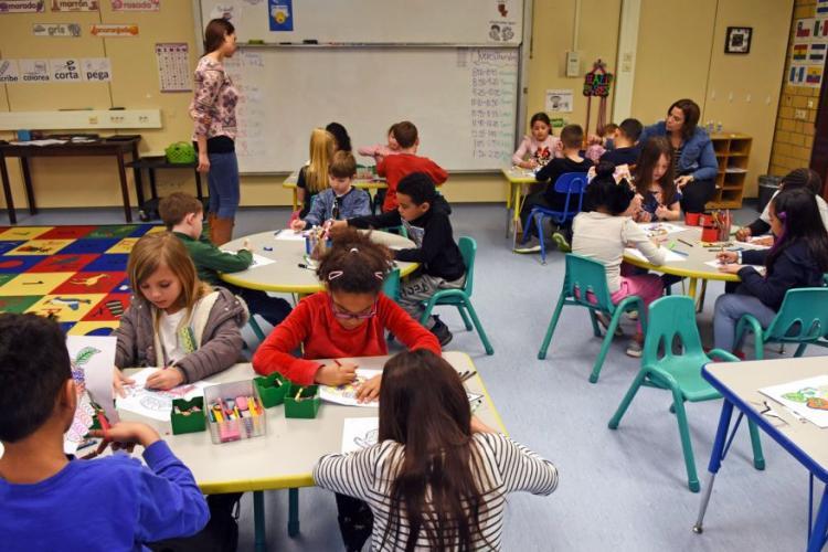 Samantha Sanchez observes second graders in her Spanish FLES class on Feb. 22, 2019, at Vogelweh Elementary School near Kaiserslautern, Germany. JENNIFER H. SVAN/STARS AND STRIPES