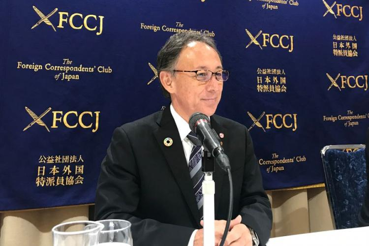 Okinawa Gov. Denny Tamaki speaks to reporters at the Foreign Correspondents' Club of Japan in Tokyo, Friday, March 1, 2019. SETH ROBSON/STARS AND STRIPES