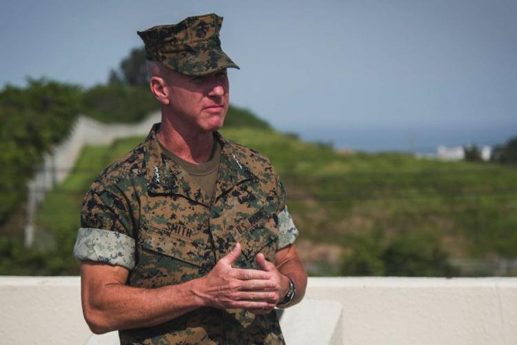 Lt. Gen. Eric Smith speaks at Camp Foster, Okinawa, Aug. 2, 2018. RYAN PERSINGER/U.S. MARINE CORPS