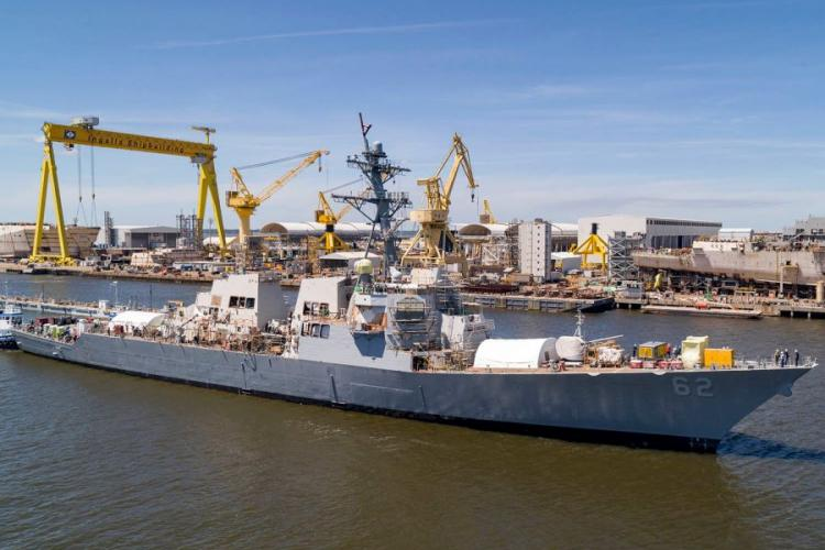 The guided-missile destroyer USS Fitzgerald is moored pierside at Huntington Ingalls Industries in Pascagoula, Miss., Tuesday, April 16, 2019. COURTESY OF U.S. NAVY