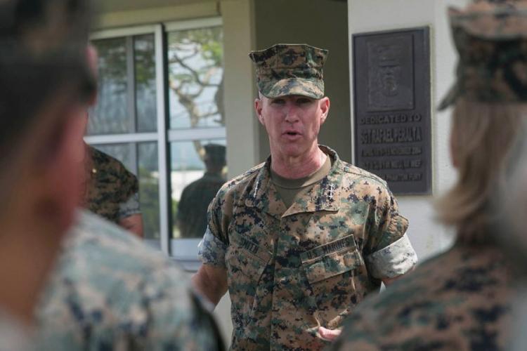 Lt. Gen. Eric Smith, III Marine Expeditionary Force commander, visits the 31st Marine Expeditionary Unit at Camp Hansen, Okinawa, Aug. 8, 2018. HANNAH HALL/U.S. MARINE CORPS