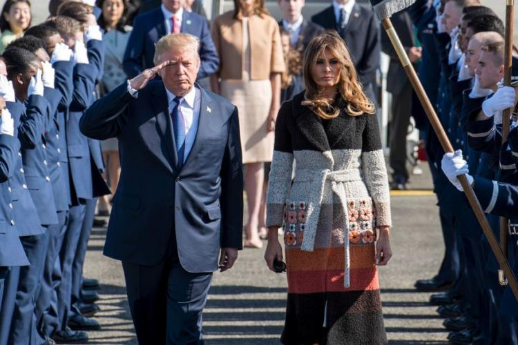 President Donald Trump and first lady Melania Trump arrive at at Yokota Air Base, Japan, Nov. 5, 2017. The visit marked the first time Trump came to Japan as president. DONALD HUDSON/U.S. AIR FORCE