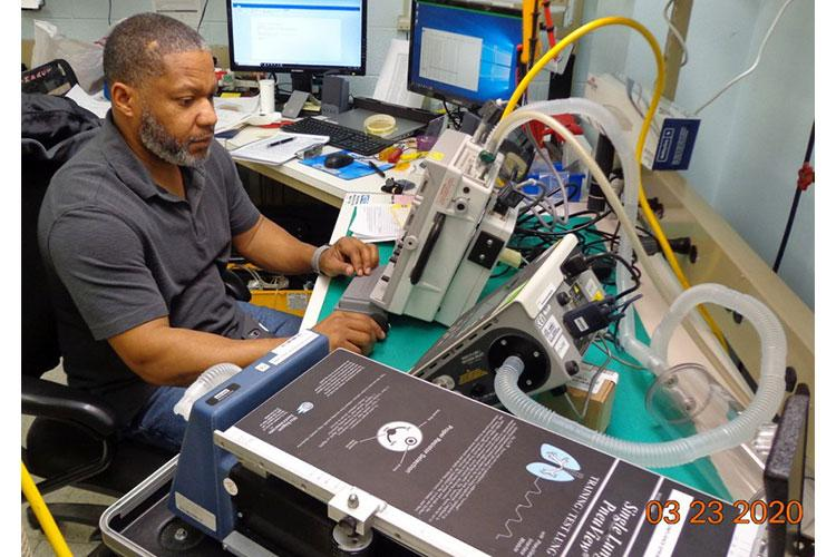 Biomedical equipment specialist Willie Kendricks conducts depot-level maintenance on a ventilator at Tobyhanna Army Depot, Pa., March 23, 2020. U.S. ARMY MEDICAL LOGISTICS COMM
