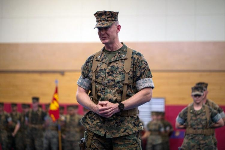 Lt. Col. Jeremy Davis speaks to Marines on the day he took command of the 3rd Transportation Support Battalion, 3rd Marine Logistics Group at Camp Foster, Japan, on June 14, 2019. ISAIAH CAMPBELL/U.S. MARINE CORPS