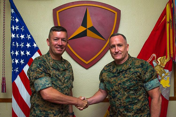 U.S. Marine Corps Maj. Gen. William M. Jurney, Commanding General, 3rd Marine Division, right, relinquished command to Maj. Gen. James Bierman at Camp Courtney, Okinawa, Japan, Aug. 12, 2020. (U.S. Marine Corps photo by Cpl. Savannah Mesimer)