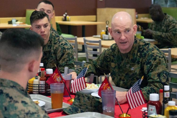 Sgt. Maj. Troy Black has lunch with Marines at Marine Corps Air Station New River, N.C., on Jan. 8, 2020. DOMINIQUE OSTHOFF/U.S. MARINE CORPS