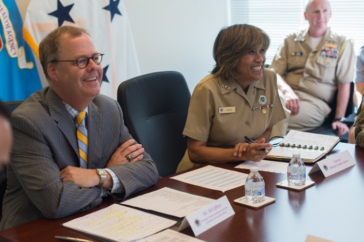 Thomas McCaffery, principal deputy assistant secretary of defense for health affairs, with Vice Adm. Raquel Bono, director, Defense Health Agency, celebrated the Defense Health Agency's fifth anniversary on Oct. 1, 2018, by welcoming the first military hospitals and clinics transitioning to the DHA. This was first step for the MHS to emerge as a more integrated and efficient system of health and readiness. (MHS photo by Military Heath System Strategic Communications Division)