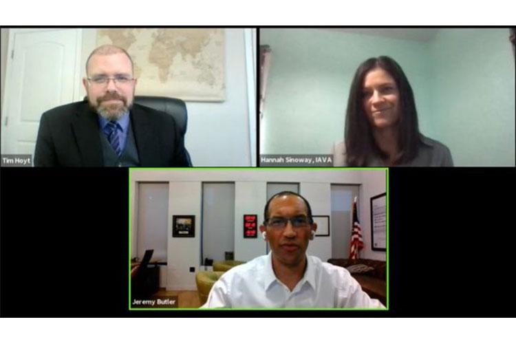 Dr. Tim Hoyt, chief of Psychological Health Promotion and supervisor of the Combat and Operational Stress Control mission at the Psychological Health Center of Excellence, discusses mental health issues facing service members and veterans during a Facebook Live event with IAVA's CEO, Jeremey Butler and Executive Vice President, Hannah Sinoway. (Screenshot from IAVA Facebook Live event.)