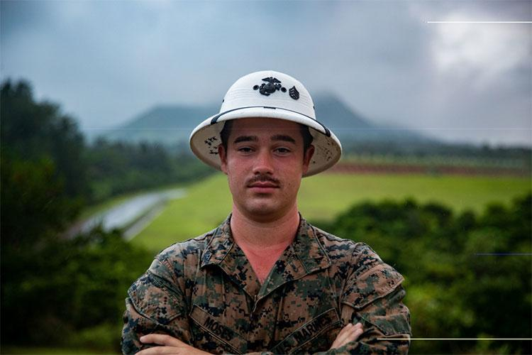 U.S. Marine Corps Lance Cpl. Jacob A. Moses, a combat marksmanship coach (CMC) with Headquarters and Support Battalion, Marine Corps Installations Pacific, poses for a photo, June 17, 2021, on Camp Hansen, Okinawa, Japan. Moses is a native of Hoover, Alabama. CMC's reinforce marksmanship fundamentals, oversee live-fire ranges and reinforce safety. (U.S. Marine Corps photo by Lance Cpl. Isaac W. Munce)