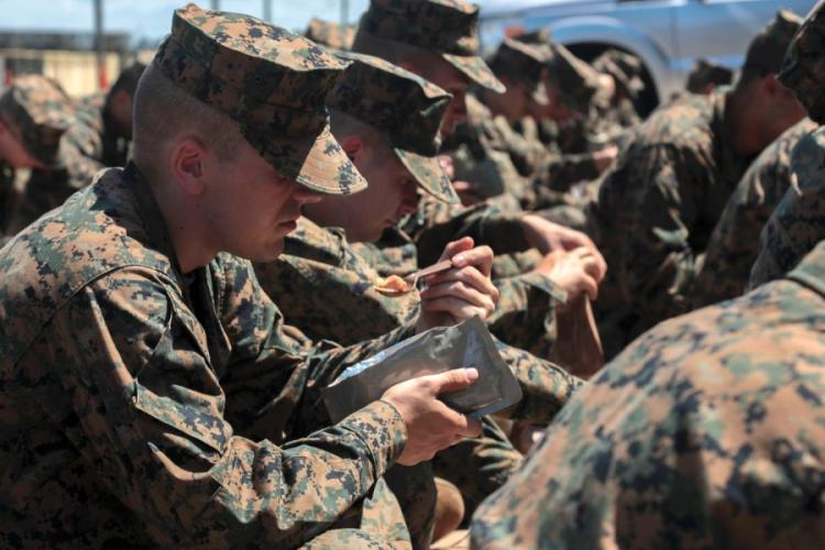 U.S. Marine Corps recruits eat Meals,Ready-To-Eat at Marine Corps Logistics Base Albany, Ga., Sept 4, 2019. A study published in October 2019 found that eating only MREs for 21 days has hardly any negative impact on gut microbiota and digestion. YAMIL CASARREAL/U.S. MARINE CORPS