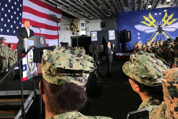 Japan-based sailors and Marines listen to President Donald Trump speak aboard the USS Wasp in Yokosuka, Japan, May 28, 2019. DAVID GLOTZBACH/U.S. NAVY