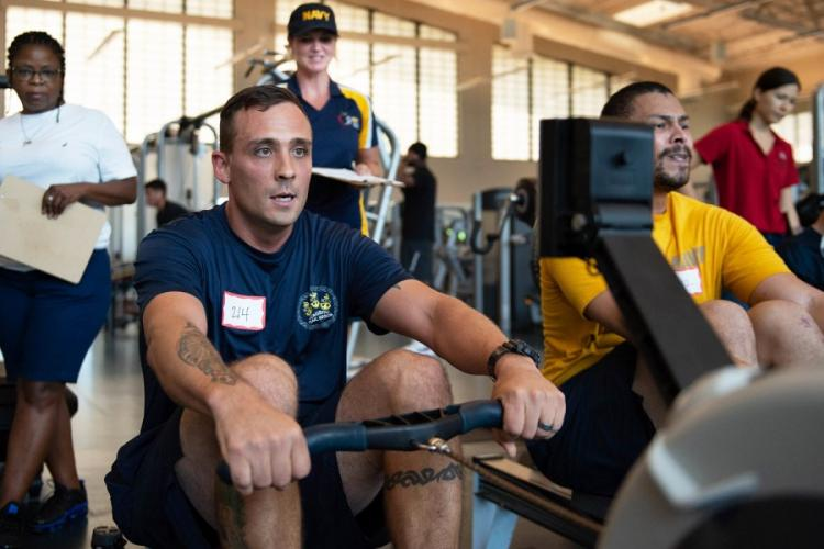 In an October, 2019 photo, sailors at Pearl Harbor participate in new physical readiness test events as part of Navy Physical Readiness Test Evaluation Phase II. AJA B. JACKSON/U.S. NAVY
