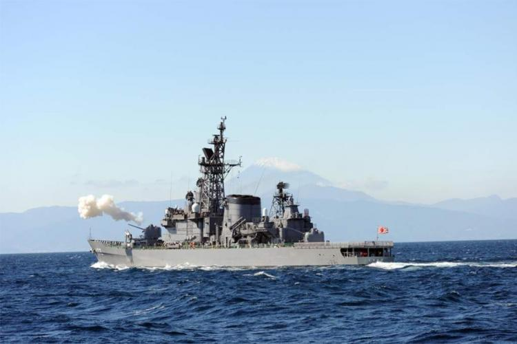 The Japanese destroyer JS Shimakaze reportedly collided with a Chinese fishing vessel in the East China Sea, Monday, March 30, 2020. JAPAN MARITIME SELF-DEFENSE FORCE